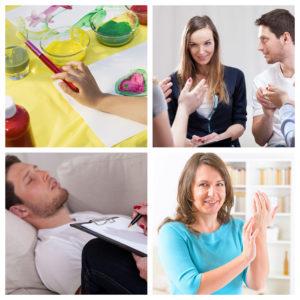 Kolasj med bilder fra psykisk helsearbeid